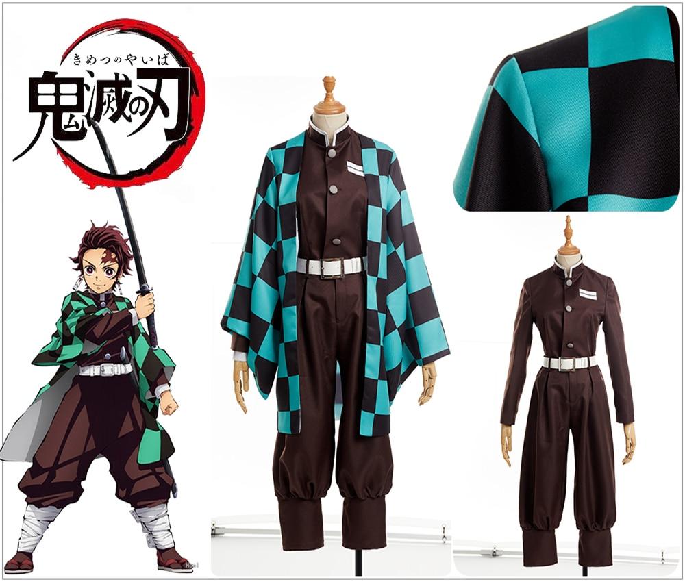 Anime démon Slayer: Kimetsu no Yaiba Kamado Tanjirou Costume Cosplay personnalisé bleu Plaid Kimono veste hauts + pantalon ceinture