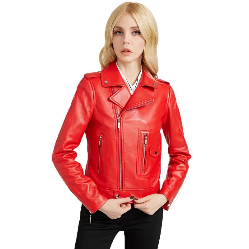 Ailegogo Women Red PU   Leather   Jacket Epaulet Zipper Lady Punk Black Faux Soft   Leather   Jacket Motorcycle Biker Coat Outerwear