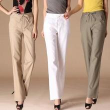 New summer-autumn women's casual trousers Ladies slim loose linen pant Plus size S-4XL