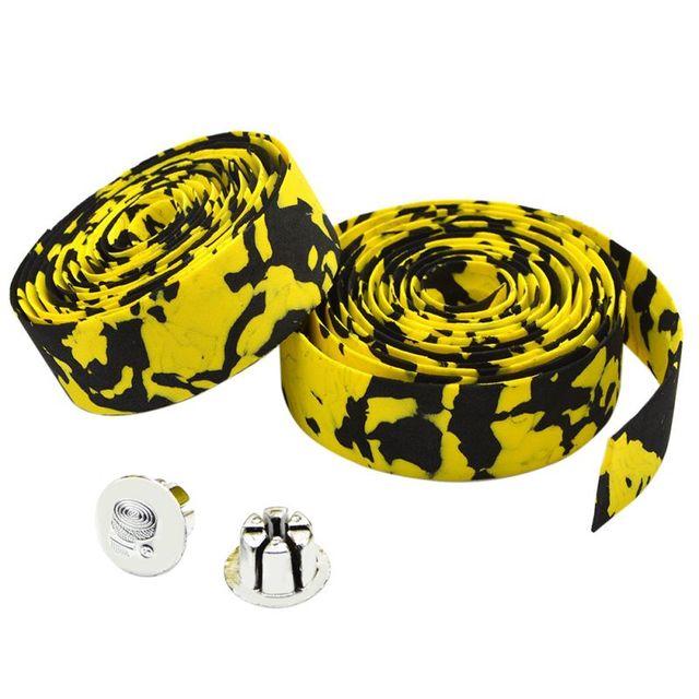 Road Bike Bicycle Handlebar Tape Camouflagebelt Cycling Handle Belt Cork Wrap with Bar Plugs non slip absorb sweat 2