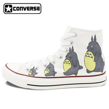 Men Women Converse All Star Neighbor Totoro Design Hand Painted Shoes Woman Man High Top White Sneakers Cosplay Christmas Gifts
