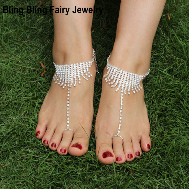 1 PCS Rhinestone Foot Jewelry Barefoot Sandals Bridesmaid Beach Wedding Jewelry Toe Ring Anklet, Free Shipping