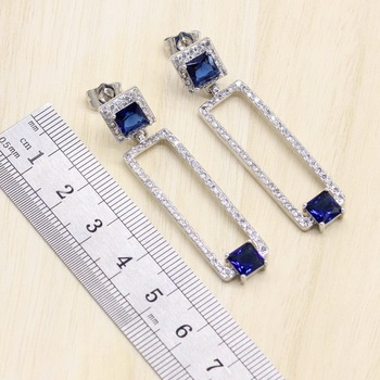 Rectangle Blue Cubic Zirconia  925 Sterling Silver Jewelry Sets For Women Earrings/Pendant/Necklace/Bracelet 4