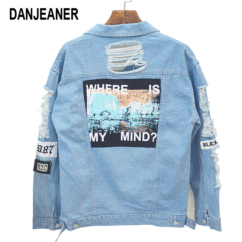 629214436 Danjeaner Where is My Mind? Korea Retro Washing Frayed Embroidery Letter  Patch Bomber Jacket Blue Ripped Distressed Denim Coats