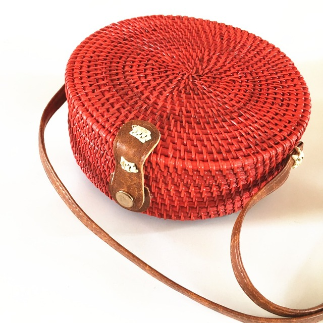 Rattan Bags Red Straw Round Handbags for Women 2018 Ladies Fashion  Crossbody Bag Bohemian Beach Shoulder Bags