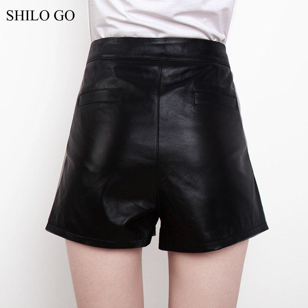 Peau Véritable Taille Cuir De Zipper Shorts Automne Mode Short Femmes Haute Ol En Concise Noir Bureau Mouton nBYqCw8H