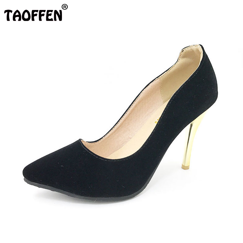 TAOFFEN women stiletto high heel shoes lady party quality footwear pointed toe brand heeled pumps heels shoes size 31-43 P17294 women s geniune leather high heels shoes women pointed toe pure color high heeled pumps office lady sexy footwear size 33 40