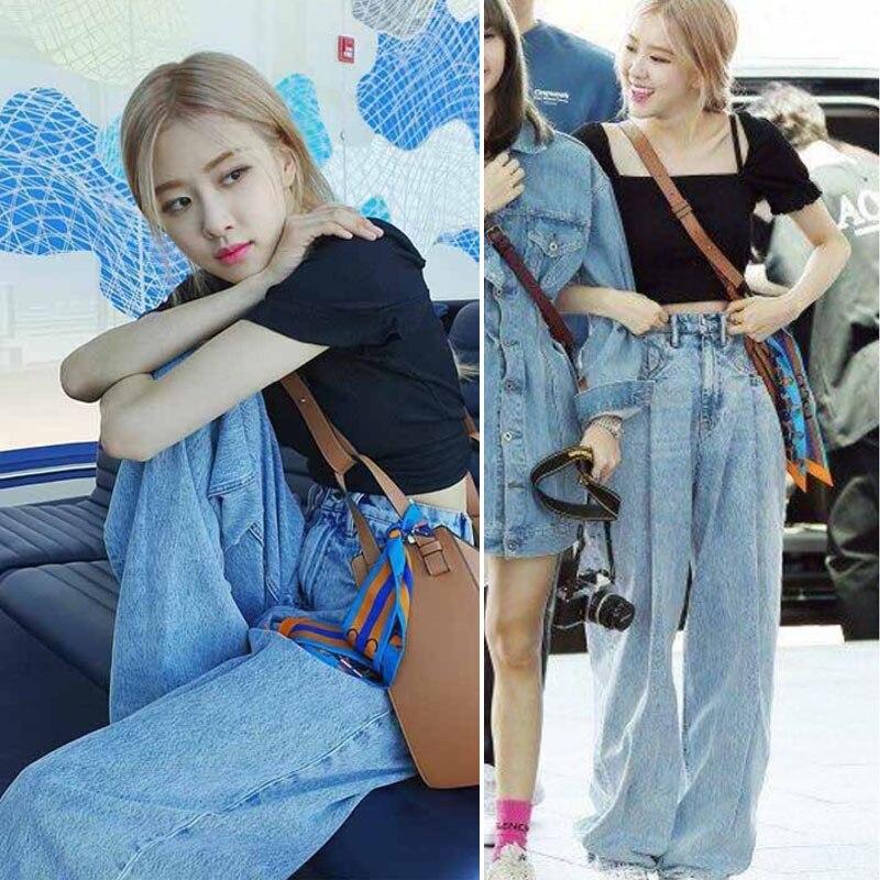 Kpop BLACKPINK Rose Streetwear The Same Fashion High Waist Jeans Women Jeans Sexy Jeans Denim Korean Light Blue Wide Leg Pants