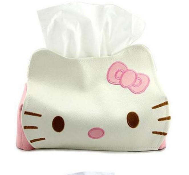 Length 23CMPU Cat face Cute Home Car Tissue Case Box Container Towel Napkin Papers BAG Holder BOX Case Pouch