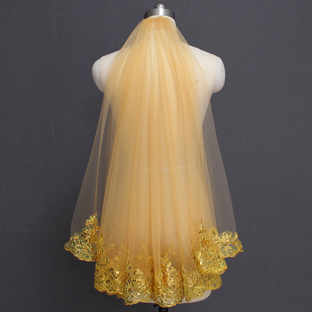 Wedding Veil Short Sequins Gold Bling One-Layer Voile Comb Lace Mariage Colorful