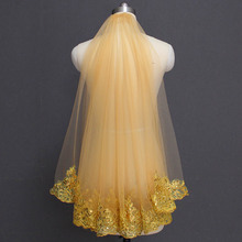 Bling Sequins Lace Gold Wedding Veil One Layer Short Colorful Bridal with Comb Voile Mariage 2019 Accessories