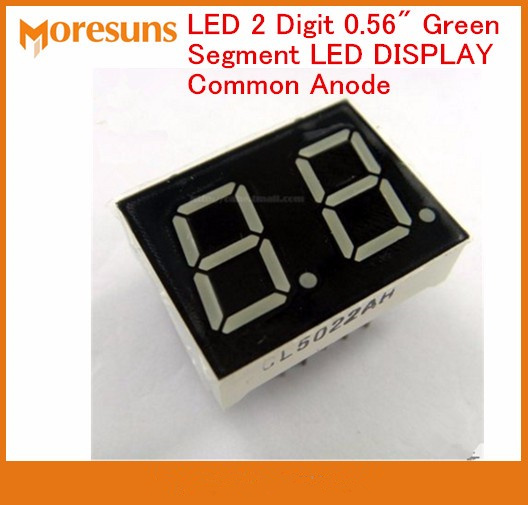 Fast Free Ship 100pcs/lot LED 2 Digit 0.56 Green Segment LED DISPLAY Common Anode Nixie tube
