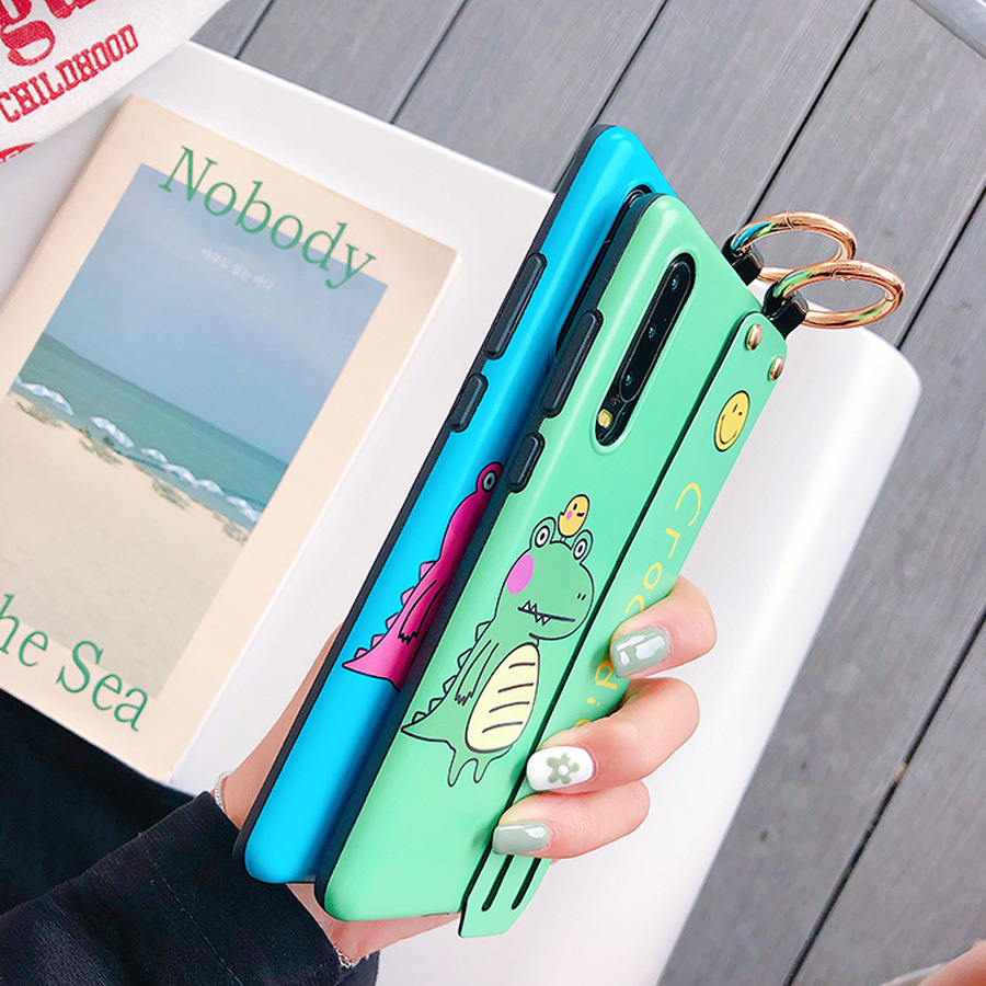 dinosaur tpu case for huawei P30 P20 pro mate 20 pro honor 10 nova 4 3 3i case cover cute cartoon wristband holder soft phone ba in Fitted Cases from Cellphones Telecommunications