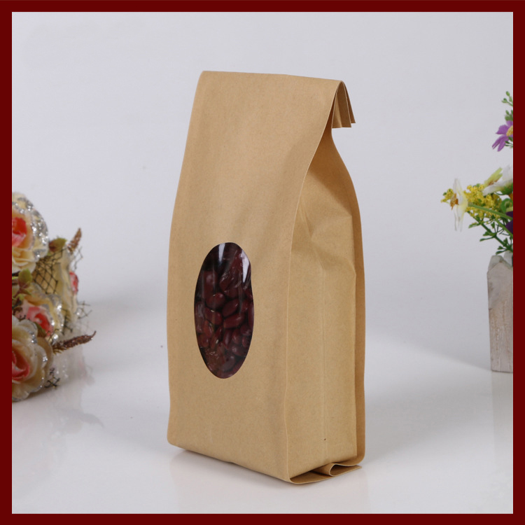 10*22+6 300pcs kraft paper Organ bags with window for gifts sweets and candy food tea jewelry retail package paper bag