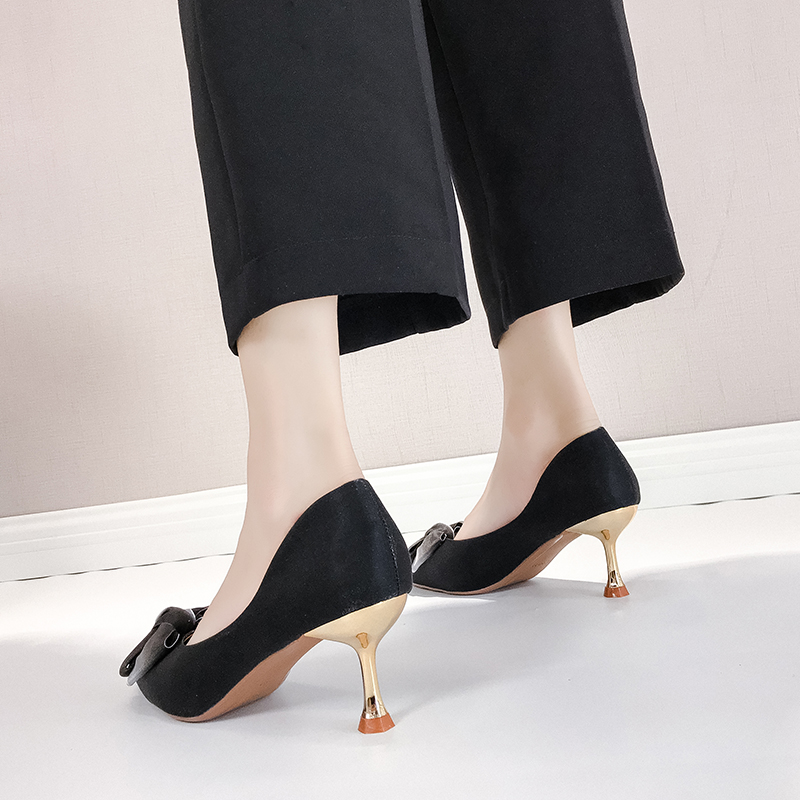Thin High Heels Sexy Ladies Pumps Women Shoes 2019 Autumn Pointed Toe Bow Knot Shallow Wedding Shoes Woman Pumps Office Shoes 31