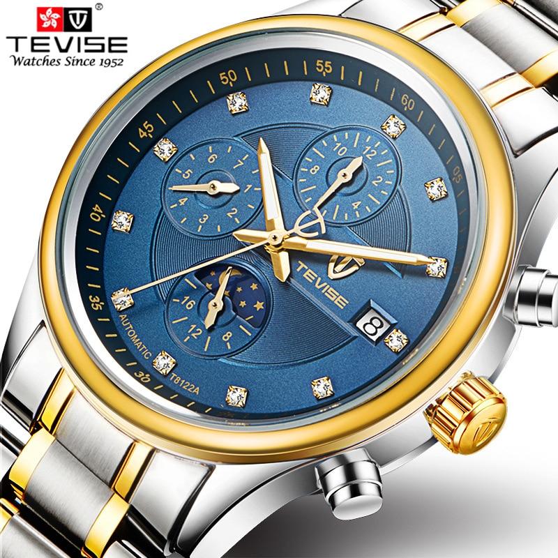 TEVISE Homens Assistir Top Marca de Luxo Relógio Mecânico Automático Dos Homens Do Esporte À Prova D' Água Luminosa Relógio de fase Da Lua Relogio masculino