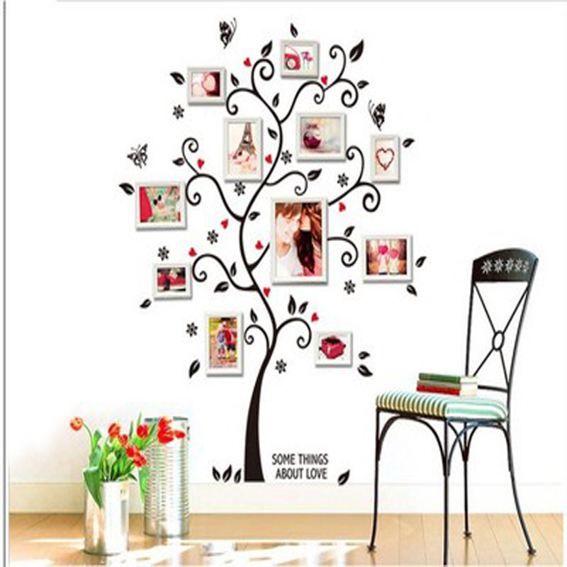 Orange Elephant DIY Home Decoration Love Tree Design Large Wall Sticker Art Decals PVC Window Sticker 2 pcs/set
