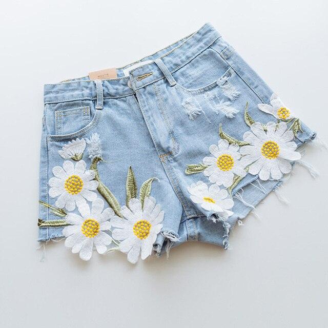 New fashion women summer daisy flower embroidery denim shorts 2016 new fashion women summer daisy flower embroidery denim shorts 2016 plus size casual female high waist ccuart Images