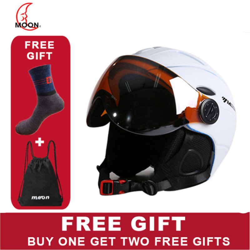 MOON Ski Helmet With goggles 2019 Integrated Full Coverage Helmet white Self Contained goggles 2 in