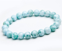 Genuine Natural Blue Larimar Gemstone Round 7mm Beads Stretch Bracelet From Dominica AAAAAA цена в Москве и Питере