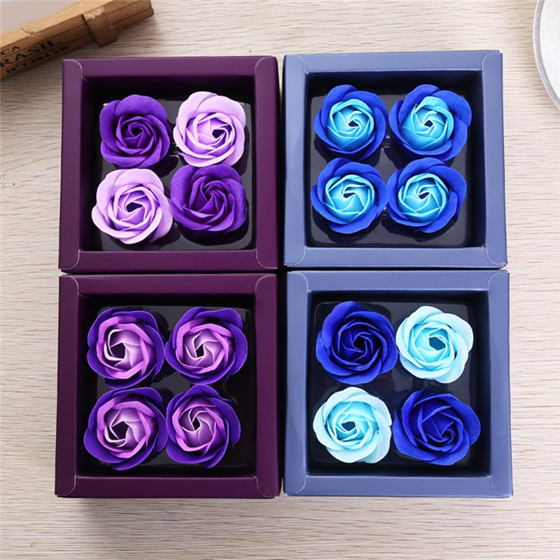 4Pcs/Box Simulation Rose Soap Flower With Ribbon Wedding Party Valentines Day Birthday Beautiful Gift For Mother Girlfriend