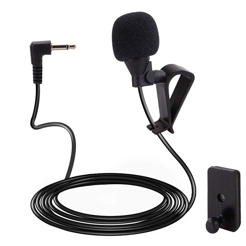Vehicle Microphone For Car Pioneer Stereos DVD Audio Mic Connector 9.8inch Black Bracket Windproof Cover 2.5mm