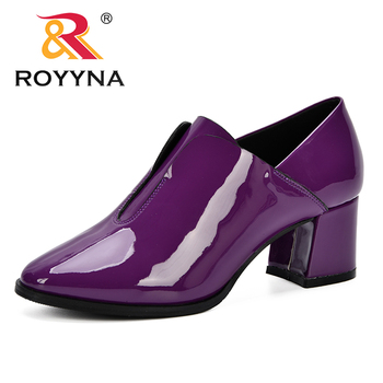 ROYYNA 2019 Women Pumps High Heels Shoes Woman Round Toe Patent Leather Female Sexy Party Shoes Office Lady Wedding Party Pumps karinluna new arrivals big size 31 43 round toe platform women shoes woman elegant spike high heels party office lady pumps