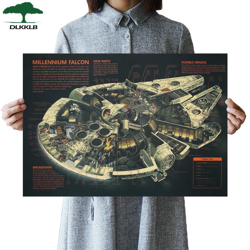 DLKKLB Звездные войны винтажный киноплакат классический космический корабль Сокол Миллениум крафт-бумага винтажная декоративная живопись Наклейка на стену - Цвет: As show