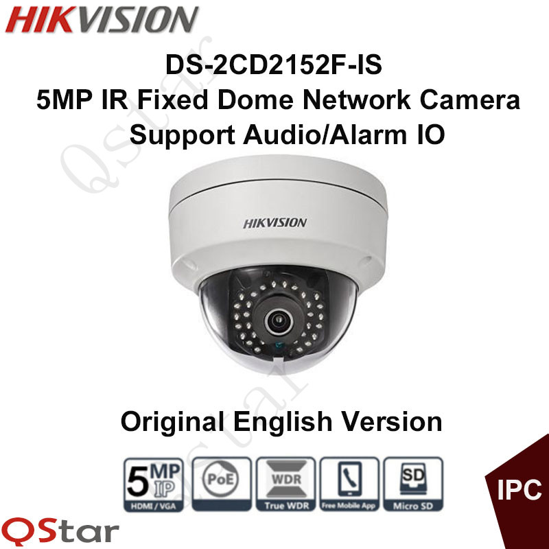 Hikvision Original English Version DS-2CD2152F-IS 5MP IR Fixed Dome Network IP Camera 3-axis Adjustment Audio CCTV Camera cd диск fleetwood mac rumours 2 cd