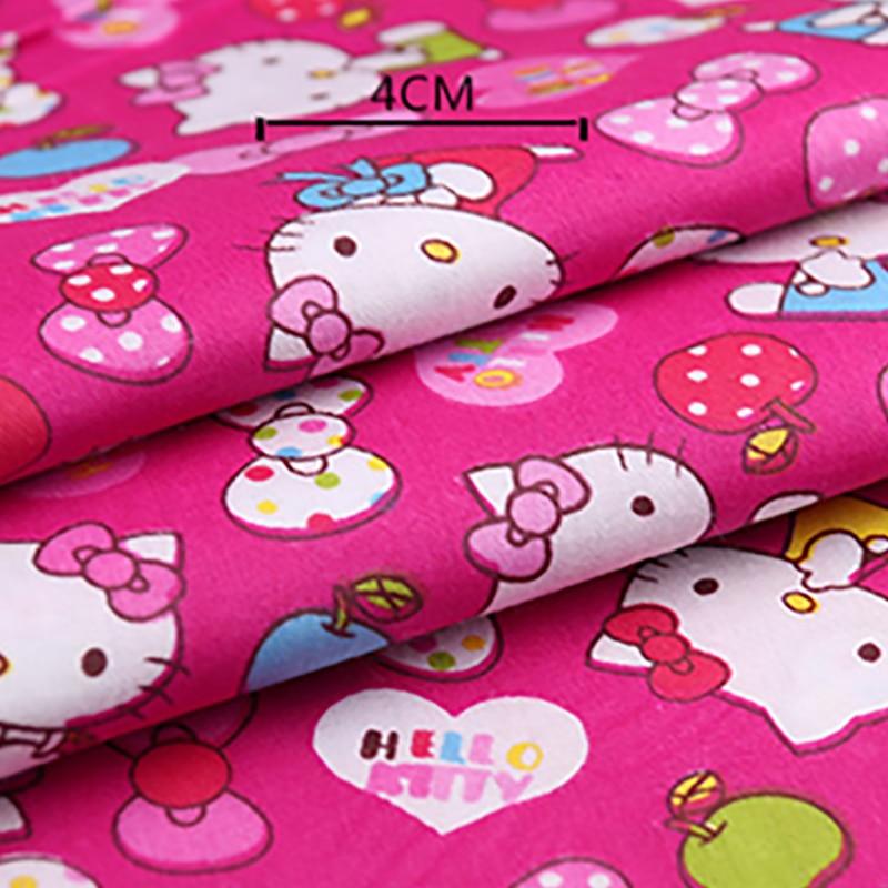 50cm * 160 cm/pieza 100% algodón estampado de Hello Kitty tela para ropa de cuna Patchwork edredón Material de tela de costura Juguetes Educativos en 3D para bebés, figuras de animales de fruta, León, Tigre, materiales Montessori, juegos en inglés