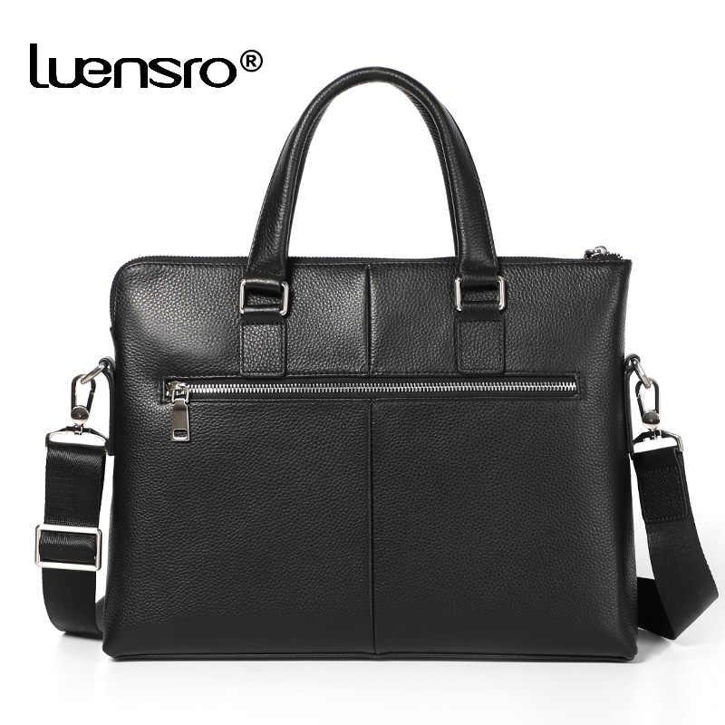 LUENSRO Briefcase Men Genuine Leather Handbag Anti-theft Designer Casual Natural Cowskin Business Black Bag Laptop Men Briefcase
