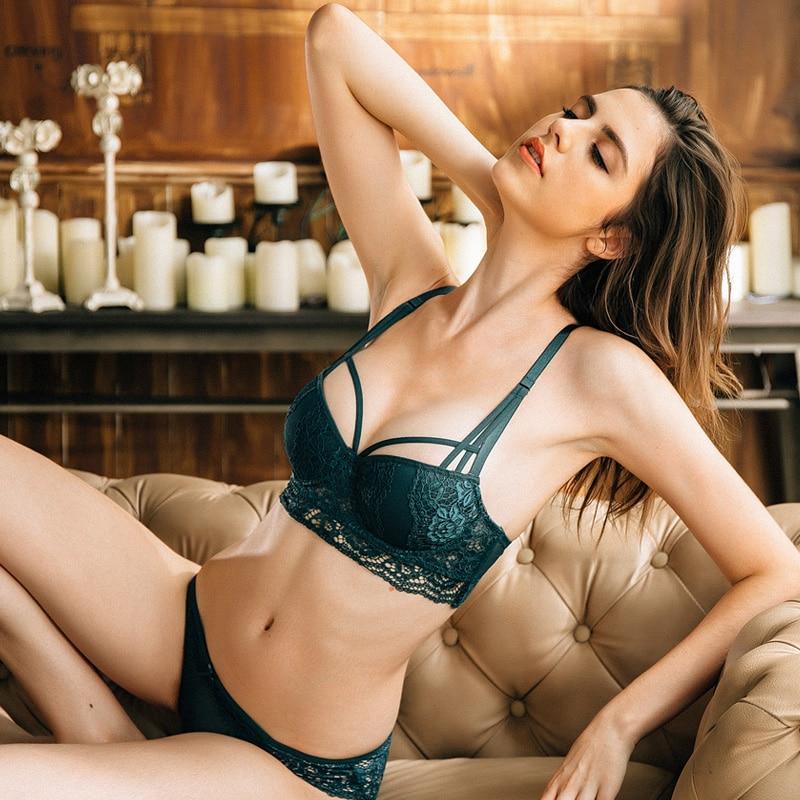 CINOON NEW Sexy Lace  Bandage Lingerie Set Charm Seduction Push Up Underwear Women Elegant Breathable Comfortable bra set
