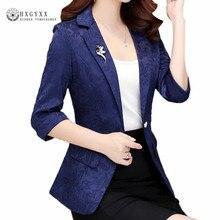 Brooch Jacquard Tweed Blazers Women Suit 2020 Summer Tops OL Ladies Blazer Singl