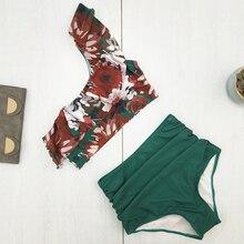 Rinabe One Shoulder Ruffle Bikini 2019 Floral Print Swimsuit Female Bathing Suit Swimwear High Waist Biquini Halter Bikini Set
