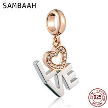 Sambaah Dangle LOVE Heart Charm Pendant 925 Sterling Silver Heart with CZ Stone Beads fit Pandora Valentine's Day Bracelet