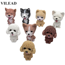 VILEAD 3.7 Resin Lovely Pomeranian Corgi Teddy Dog Figurine Cute Cartoon Shakeable Head Model Miniature for Car Home Decor