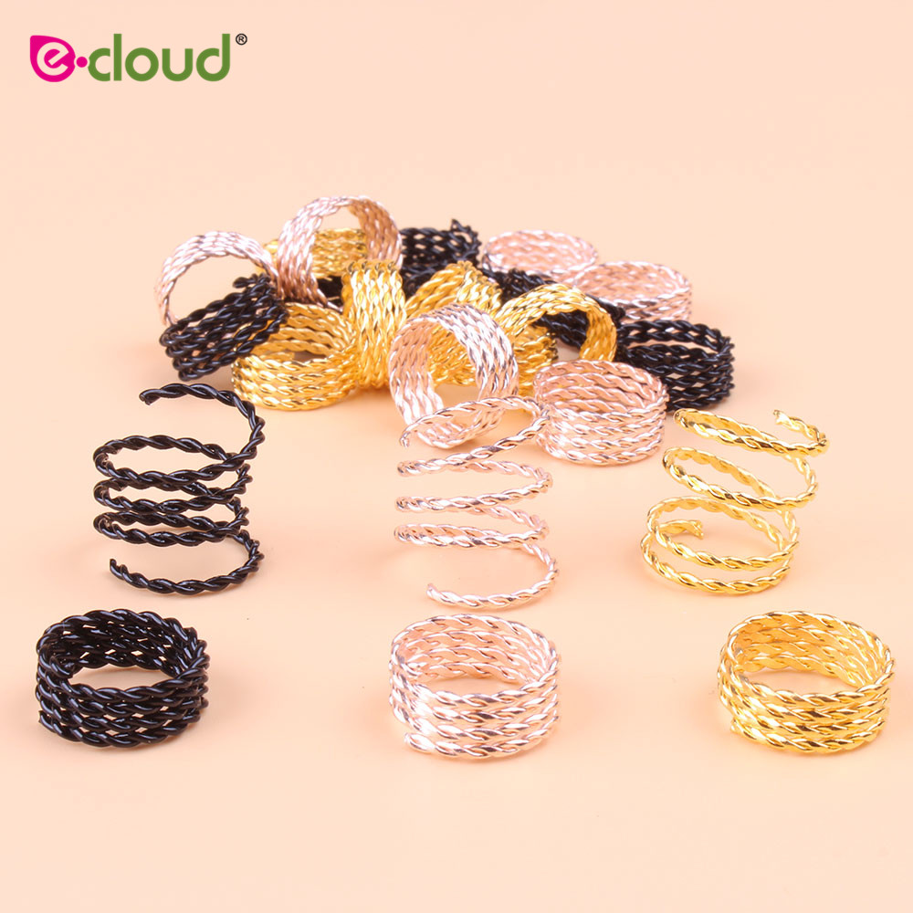 adjustable hair cuff braids 50pcs 100pcs pink red green blue purple silver gold dreadlock rings hair beads for braids for girls 2018 New Scaling metal spring tube hair ring dreadlock beads and hair beads for dreadlocks adjustable hair braid cuff clips