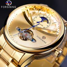 Forsining Automatic Self-Wind Male Watch Golden Dial Stainless Steel Casual Moonphase Gold Mechanical Tourbillon Men Clock Reloj недорого
