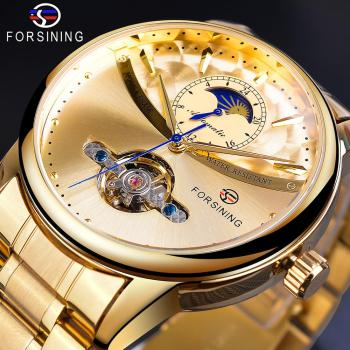 Forsining Automatic Self-Wind Male Watch Golden Dial Stainless Steel Casual Moonphase Gold Mechanical Tourbillon Men Clock Reloj newest 44mm parnis white dial moon phase complete calendar golden plated case automatic self wind movement men s wristwatches