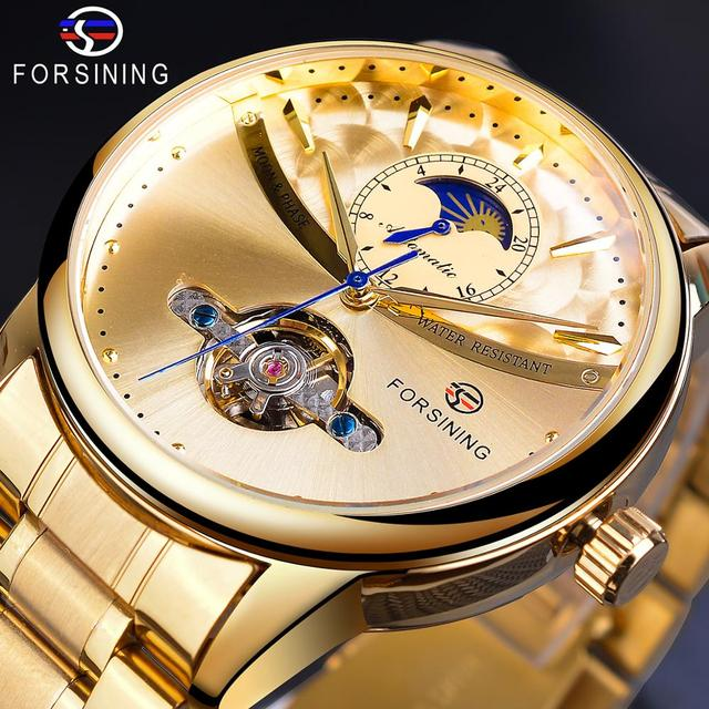 Forsining Automatic Self Wind Male Watch Golden Dial Stainless Steel Casual Moonphase Gold Mechanical Tourbillon Men Clock Reloj