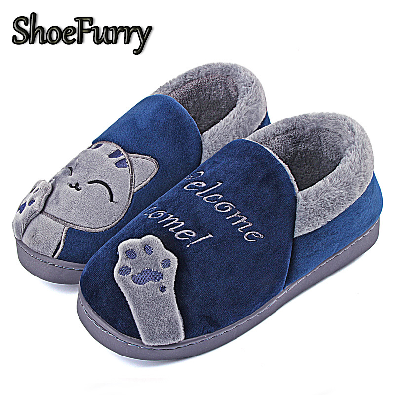 ShoeFurry Cartoon Cat Cotton Shoes Men Winter Home Slippers Non-slip Indoor Shoes Man Warm Plush Bedroom Slippers Thicken Shoes