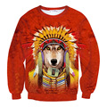 Newest Tie Dye Funny Dog Cosplay American Indian 3D Animal Sweatshirt Cool Red Hoody For Men Women Sweat Tops Causal Pullovers