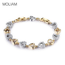 MOLIAM Romantic Lovely Heart Bracelets Bangles Ladies Gold Color Crystal Zircon Link Chain Jewelry MLL162