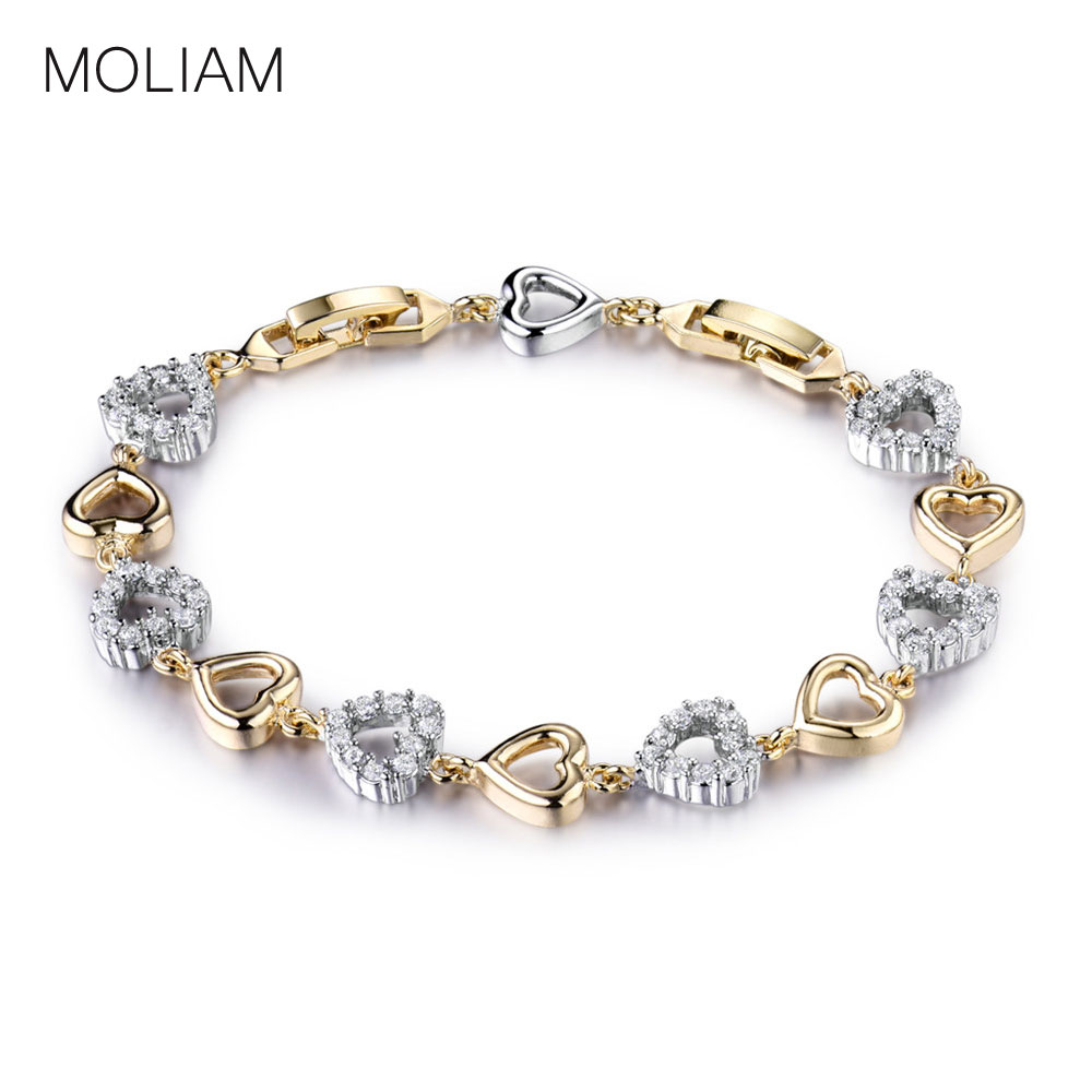 MOLIAM Romantic Lovely Heart font b Bracelets b font Bangles Ladies Gold Platinum Plated Crystal Zircon