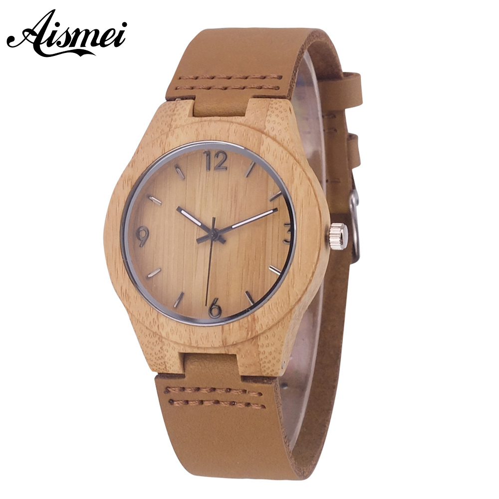 Fashion Women Wooden Quartz Watches with Genuine Leather Band Modern Nature Bamboo Analog Wrist Watch Relogio feminino simple brown bamboo full wooden adjustable band strap analog wrist watch bangle minimalist new arrival hot women men nature wood
