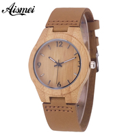 Fashion Women Wooden Quartz Watches With Genuine Leather Band Modern Nature Bamboo Analog Wrist Watch Relogio