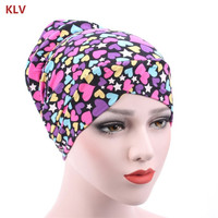 K Women Stretch Turban Headbands Floral Print Head Wrap Leopard Muslim Cotton Hat