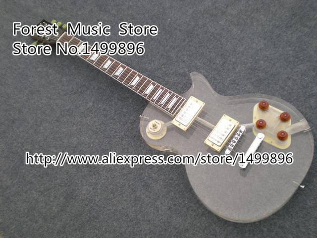 Cheap Free Shipping LP Standard Model Electric Guitar Transparent Acrylic Guitar Body Left Handed Custom Available