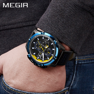 Image 5 - MEGIR erkekler kuvars spor İzle Relogio Masculino Chronograph askeri ordu saatler saat erkekler üst marka lüks yaratıcı izle erkekler