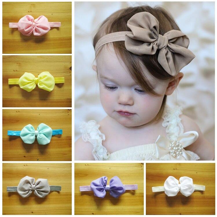 Newest kids girl Hair Product Big Chiffon Bowknot Headband Girls Photo Props 50pcs/lot Freeshipping
